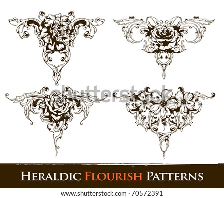 Set of heraldic flourish  patterns for your vintage design. Layered. Vector EPS 10 illustration. - stock vector