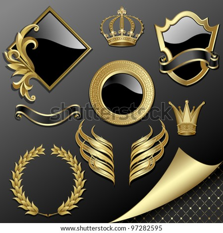 Set of heraldic gold and black design elements - stock vector
