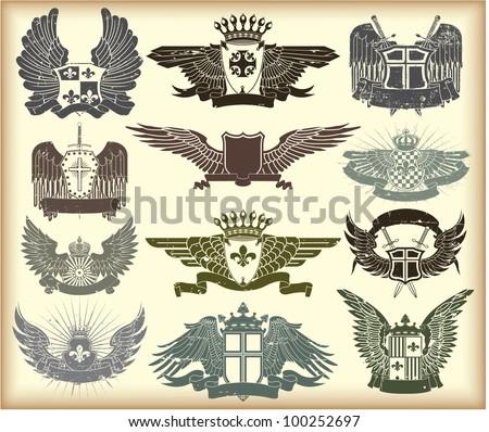 Set of heraldic vintage stamps - stock vector