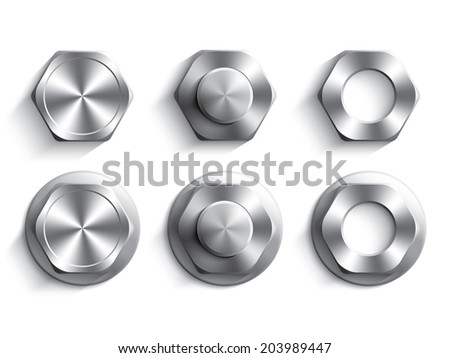 Set of hexagon head bolts, nut and washers - stock vector