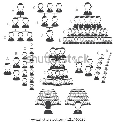 Set of hierarchy icons - stock vector
