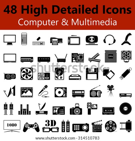 Set of High Detailed Computer and Multimedia Smooth Icons in Black Colors. Suitable For All Kind of Design (Web Page, Interface, Advertising, Polygraph and Other). Vector Illustration.  - stock vector