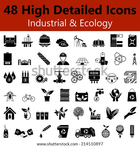 Set of High Detailed Industrial and Ecology Smooth Icons in Black Colors. Suitable For All Kind of Design (Web Page, Interface, Advertising, Polygraph and Other). Vector Illustration.  - stock vector