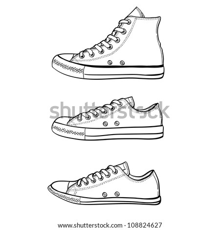 Set of high, low and slim sneakers drawn in a sketch style. Side view of three different kinds of sneakers. Vector illustration. - stock vector