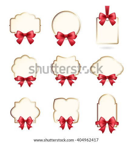 Set of High Quality Labels with a Red Bow on White Background. Vector Isolated Illustration. - stock vector