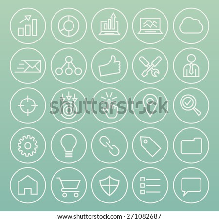 Set of High Quality Universal Standard Minimalistic Simple White Thin Line SEO and Development Icons on Circular Buttons on Color Background. - stock vector