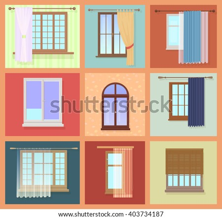 Set of high quality various Vintage Windows with curtains. Vector illustration. - stock vector