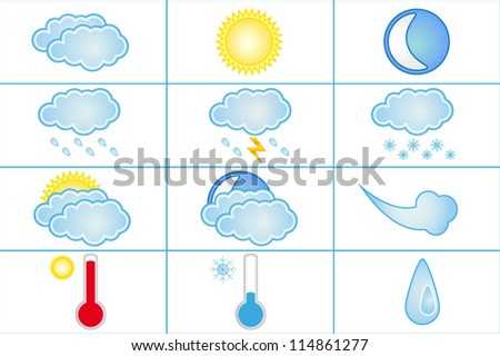 Set of 12 high quality vector weather icons for web - stock vector