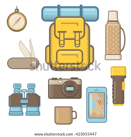 Set of Hiking and Outdoor Equipment.  Camping Icon Set in Flat Style.   - stock vector