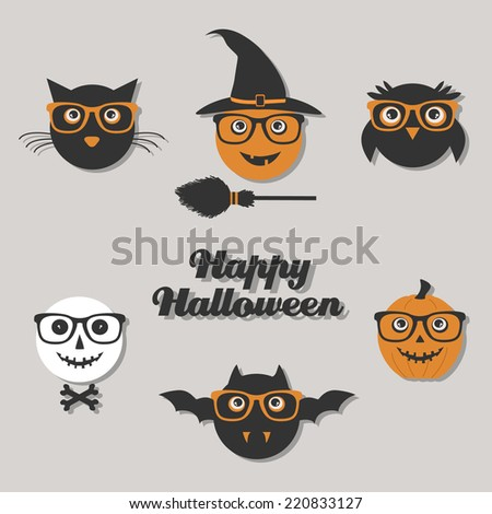 set of hipster Halloween characters - stock vector