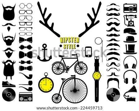 Set of hipster icons. Vector illustration. - stock vector