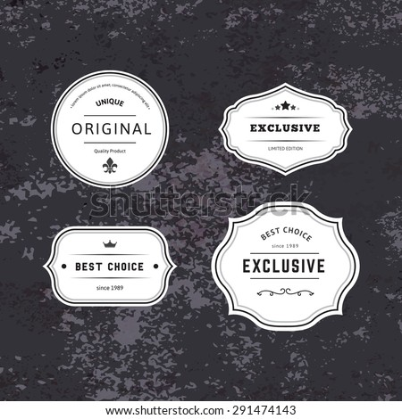 Set of Hipster Labels with Frames. Authentic Retro Vector Tags Design. Minimalistic Craft Beer Badges. - stock vector