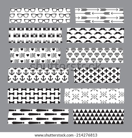 Set of hipster patterned washi tape stripes - stock vector