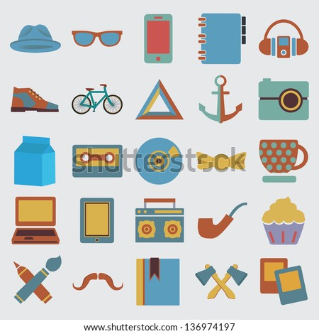 Set of hipster symbol - vector icons - stock vector