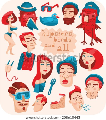 set of hipsters, birds and all - stock vector