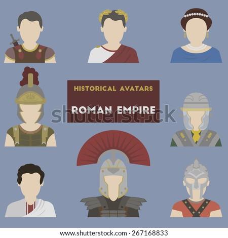 Set of historical avatars. Roman Empire - stock vector