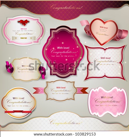 Set of  holiday banners and labels with ribbons. Vector background - stock vector