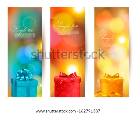 Set of holiday christmas banners with gift boxes and ribbon. Vector illustration  - stock vector