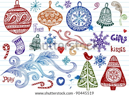 Set of holiday doodle ornaments - stock vector
