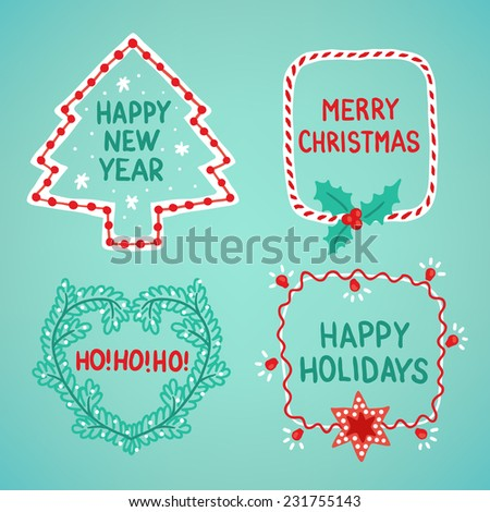 Set of holiday frames. Christmas tree, heart, candy and garland - stock vector