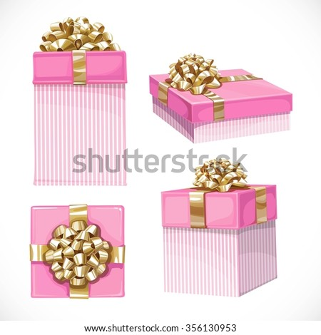 Set of holiday gifts in pink boxes with gold bow isolated on a white background - stock vector