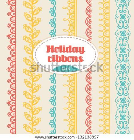 Set of holiday ribbons - stock vector