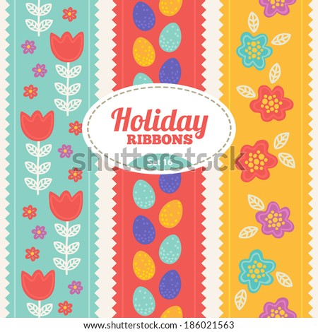 Set of holiday ribbons. Vector seamless ribbons for Easter - stock vector