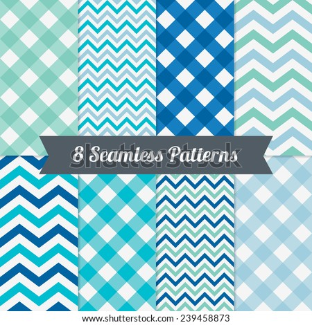 Set of Holiday Seamless Patterns with Gingham and Chevron in Green, Blue, Cyan, Classic Blue and White. Perfect for wallpapers, pattern fills, web backgrounds, birthday, Valentine and wedding cards  - stock vector