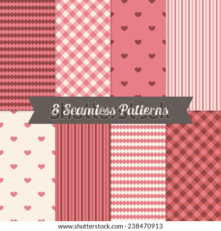 Set of Holiday Seamless Patterns with Hearts, Stripes and Gingham in Pink, Brown and Beige. Perfect for wallpapers, pattern fills, web backgrounds, birthday, Valentine and wedding cards  - stock vector