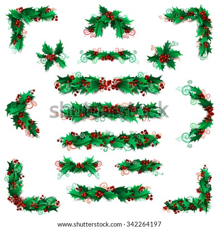 Set of holly berries page decorations and dividers. Christmas vintage design elements isolated on white background. - stock vector