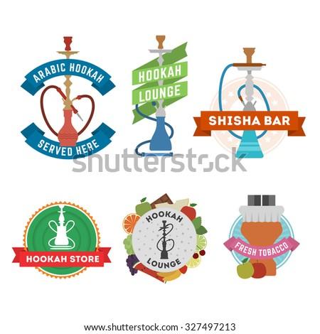 Set of hookah labels and emblems. Vintage design elements for hookah lounges, shisha bars, hokah stores. - stock vector