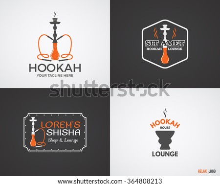 Set of Hookah relax labels, badges and design elements in 2 color variations. Vintage shisha logo. Lounge cafe emblem.  Arabian bar or house, shop insignia. Trendy palette. Isolated vector - stock vector