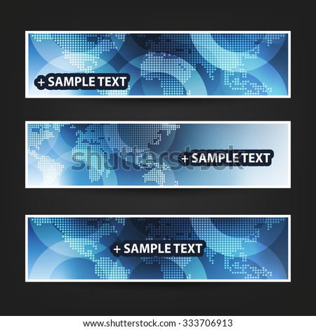 Set of Horizontal Banner / Cover Background Designs / Ad Banner Templates - Colors: Blue and White With Dotted World Map - stock vector