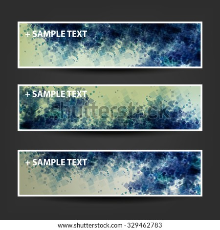 Set of Horizontal Banner / Cover Background Designs / Ad Banner Templates - Colors: Green, Blue, Yellow, White - stock vector