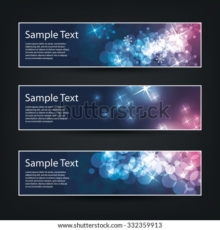 Set of Horizontal Banner / Cover Background Designs - Colors: Purple, Blue, White - Christmas, New Year or Other Holiday Ad Banner Templates - stock vector