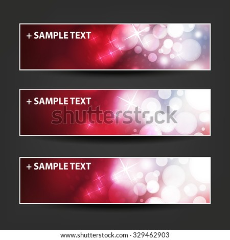 Set of Horizontal Banner / Cover Background Designs - Colors: Red, White - Christmas, New Year or Other Holiday Ad Banner Templates - stock vector