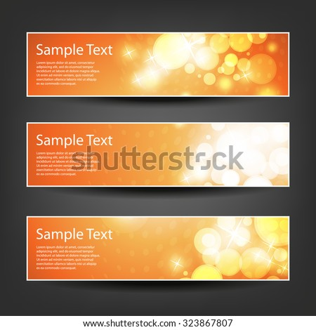 Set of Horizontal Banner or Header Designs for Christmas, New Year or Other Holidays / Parties with Orange, Dotted Pattern Background - stock vector
