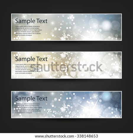 Set of Horizontal Banner or Header Designs for Christmas, New Year or Other Holidays with Colorful Sparkling Pattern Background - Colors: Blue, Silver, Gold - stock vector