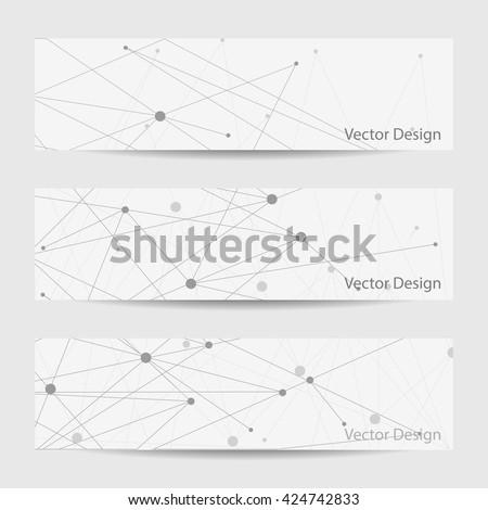 Set of horizontal banners. Abstract geometric background with connected lines and dots.  Vector illustration. - stock vector
