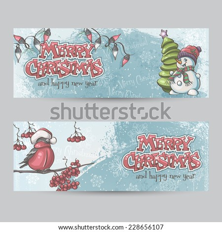 Set of horizontal banners for Christmas and the new year with a picture of a snowman and bullfinch on the branch - stock vector