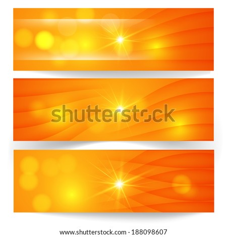 Set of horizontal banners.The illustration contains transparency and effects. - stock vector