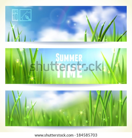 Set of Horizontal Banners with Grass and Skies. Vector illustration, eps10, editable. - stock vector