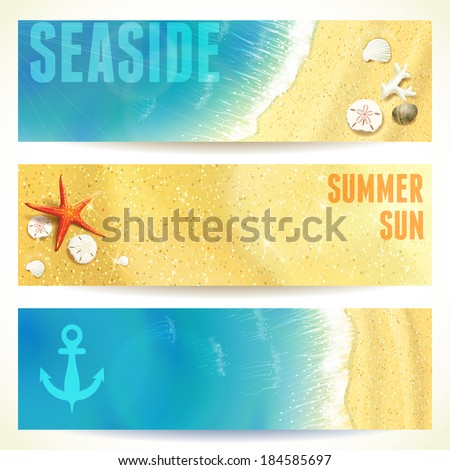 Set of Horizontal Banners with Seaside and Starfish. Vector illustration, eps10, editable. - stock vector
