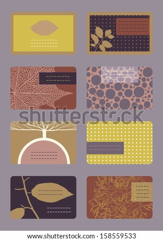 Set of horizontal colourful business cards  - stock vector