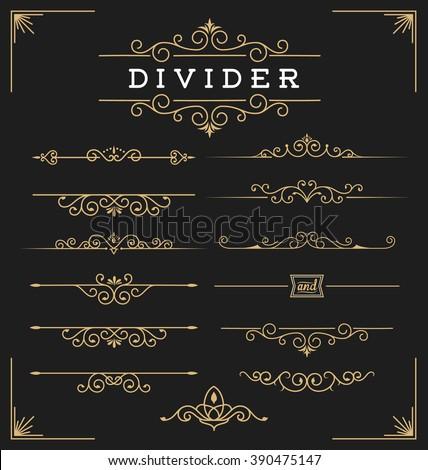Set of horizontal flourishes divider decorative elements. Vector illustration - stock vector