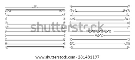 Set of 20 horizontal page dividers. Collection of retro rulers for text decoration. - stock vector