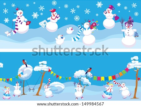 Set of 2 Horizontal seamless backgrounds with cute snowmen for Christmas and New Year Holidays design. - stock vector
