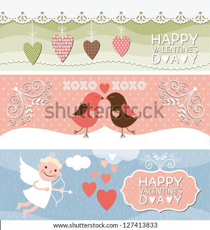 set of horizontal valentine banners - stock vector