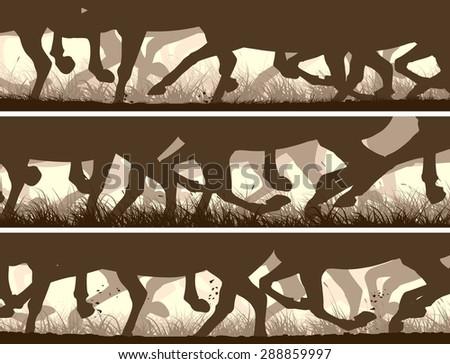 Set of horizontal vector banners prancing through grass galloping horses legs. - stock vector