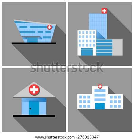 set of 4 hospital buildings, modern architecture vector design - stock vector